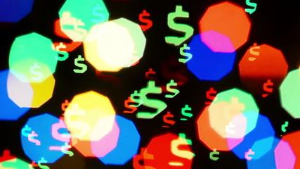Colorful defocused blinking dollar sign bokeh festive lights
