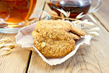 Cookies oatmeal with spikelet and tea on board