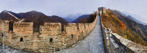 Foto op Aluminium Chinese Muur CN Great Wall 9 Vert Panorama