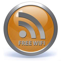 Free wifi circular icon on white background