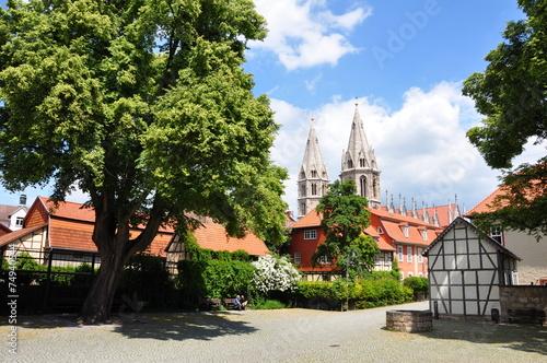 Leinwanddruck Bild Altstadt in Mühlhausen / Thüringen