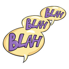 Vector Cartoon Comics Phrase - Blah