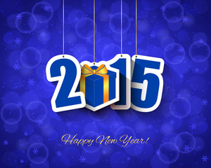 2015 New year background with gift box tag
