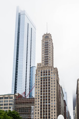 Classic and Modern Skyscrapers in Chicago in Fog