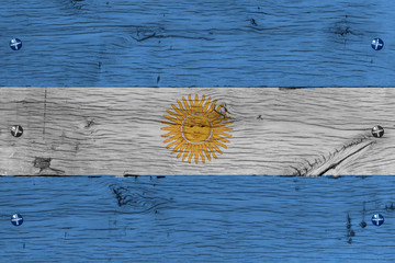 Argentina national flag painted old oak wood fastened