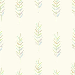 Seamless nature pattern with graphic brunch.  Hand drawing leavs