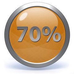 Seventy percent circular icon on white background