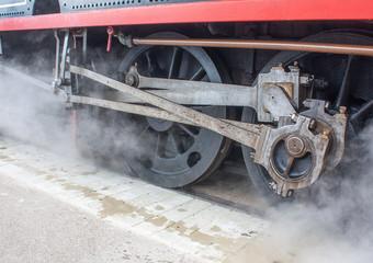 Embiellage sur locomotive à vapeur en Baie de Somme