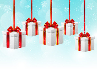 Christmas background with gift boxes