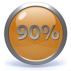 Ninety percent circular icon on white background