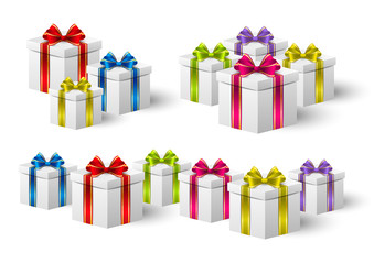 Set of holiday gift boxes