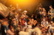 Christmas nativity scene with three Wise Men presenting gifts