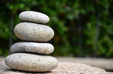Stack of zen rocks in garden