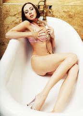 sexy lingerie woman posing in  bath