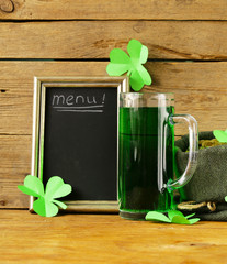 St Patrick's Day green beer with shamrock