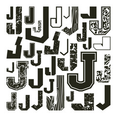 Set versions of letters J