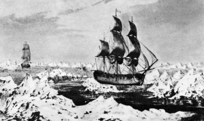 Cook's ships near Icy Cape, Alaska, august 1778