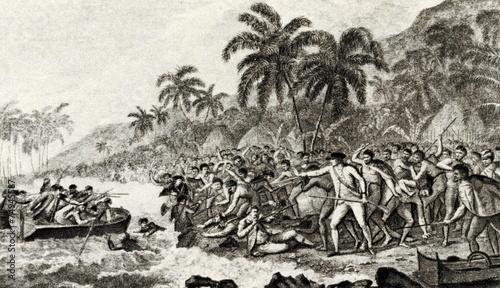 Leinwanddruck Bild The Death of Captain Cook painted by John Webber