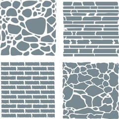 Stone and brick cladding. Vector texture set.