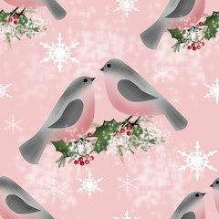 Bullfinch on branch of holly greeting christmas card background