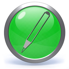 Pencil circular icon on white background