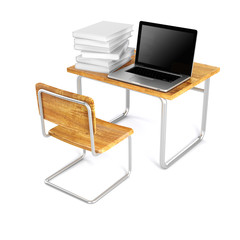 3d school desk and laptop on white background