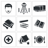 Illegal migration Vector Icons Set poster