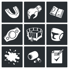 Martial arts Vector Icons Set