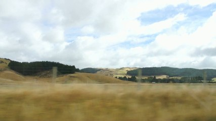 Views of fields and hills in the movement, New Zealand