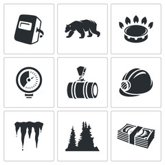 Gas transit Vector Icons Set