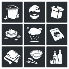 Social phenomenon homeless Vector Icons Set