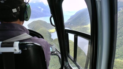 Pilot in the cockpit of the helicopter