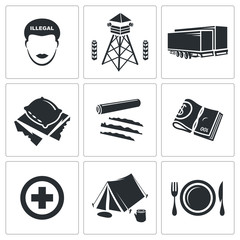 Illegal migration Vector Icons Set