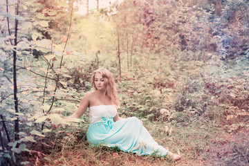 romantic woman in fairy forest