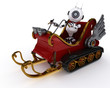 Robot in a snowmobile sleigh