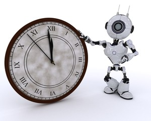 Robot with clock before midnight