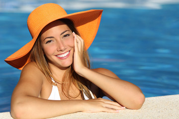 Girl on holidays with a perfect white smile