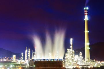 industrial refinery at night