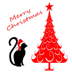 Merry Christmas Silhouette Cat with Red Tree