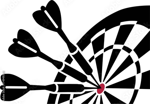 Dartboard with Darts - 74949362