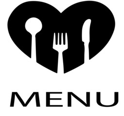 Simple Menu with Heart and Cutlery