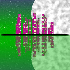 Abstract town with moon