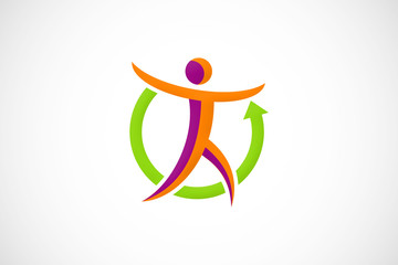 sport man abstract logo vector