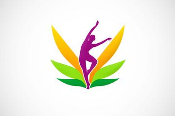 woman beauty spa nature leaf logo vector