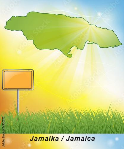 Leinwanddruck Bild Karte von Jamaika
