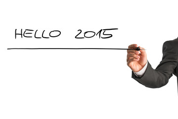 Writing Hello 2015 on virtual whiteboard