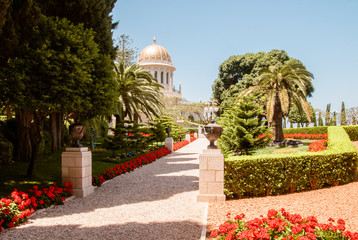 Bahai temple in Bahai garden, Carmel mountain, Haifa, Israel.