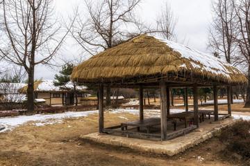 Korean traditional village scene in winter.