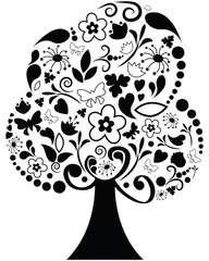 Floral ornate tree - vector