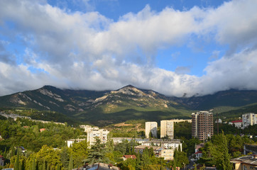 Yalta - a city on the background of beautiful mountains. Crimea